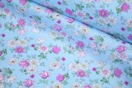 White & Lilac Flowers 100% Cotton Fabric | Low Price (per meter)