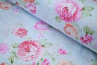 Pink & Peach Roses 100% Cotton Fabric (per meter)