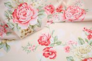 Salmon Pink Cabbage Roses 100% Cotton Fabric (per meter)