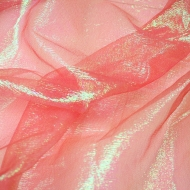 Iridescent Reddish-Pink Crystal Crinkle Organza Fabric (per meter)