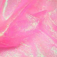 Iridescent Pink Crystal Crinkle Organza Fabric (per meter)