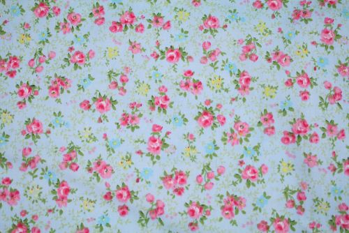 Tiny Pink Roses on Blue 100% Cotton Fabric (per meter)
