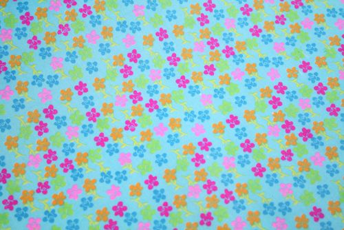 Tiny Coloured Daisies on Blue 100% Cotton Fabric (per meter)