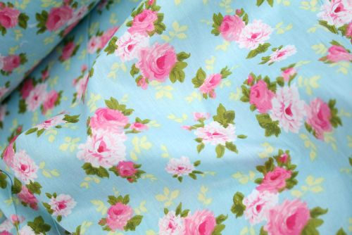 Pink Roses on Blue 100% Cotton Fabric (per meter)