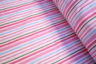 Pink Green Blue Stripes 100% Cotton Fabric (per meter)