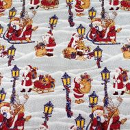 Santa Christmas Scene 100% Cotton Fabric Designer Fat Quarter