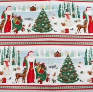 Santa Christmas Trees Scene 100% Cotton Fabric Designer Fat Quarter