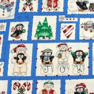 Christmas Joy bears & Penguins 100% Cotton Fabric Designer Fat Quarter