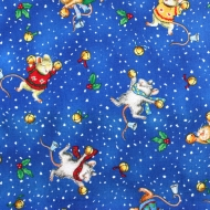 Christmas Happy Mice 100% Cotton Fabric Designer Fat Quarter