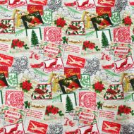 Christmas Seasons Greetings Stamps 100% Cotton Fabric Designer Fat Quarter