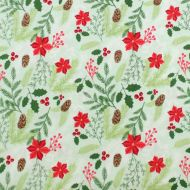 Riley Blake Christmas Green Holy & Berries 100% Cotton Fabric Fat Quarter