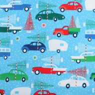 Clothwork Textiles Cars & Christmas Trees 100% Cotton Fabric Fat Quarter