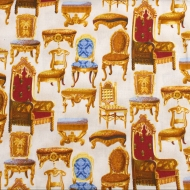 Studio E Fabrics 100% Cotton Fabric Fat Quarter Antique Chairs