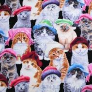 Elizabeth Studio Cats in Hats Cotton Quilting Craft Fabric Fat Quarter