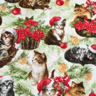 Top Brand Christmas Cats & Kittens Cotton Quilting Craft Fabric Fat Quarter