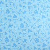 Henry Glass & Co Camping Sports Blue Cotton Quilting Craft Fabric Fat Quarter