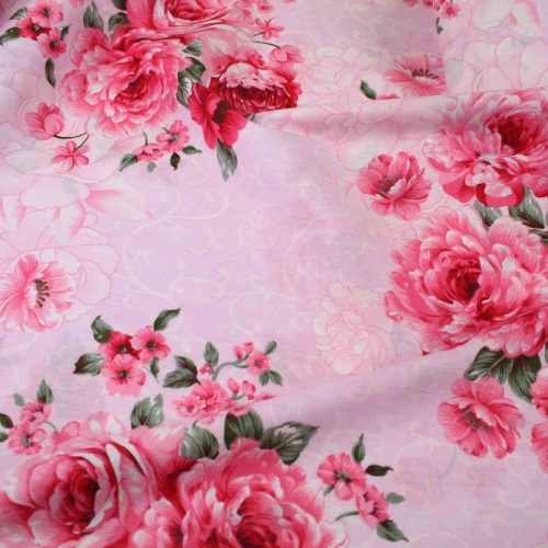 Pink Roses Cotton Quilting Top Quality Craft Fabric per meter
