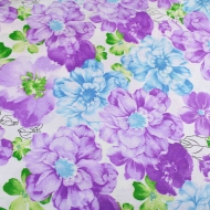Blue & Lilac Floral Top Quality Cotton Quilting Craft Fabric per meter