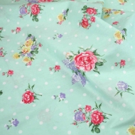 Pink & Yellow Roses with Polka Dots Top Quality Cotton Quilting Craft Fabric per meter