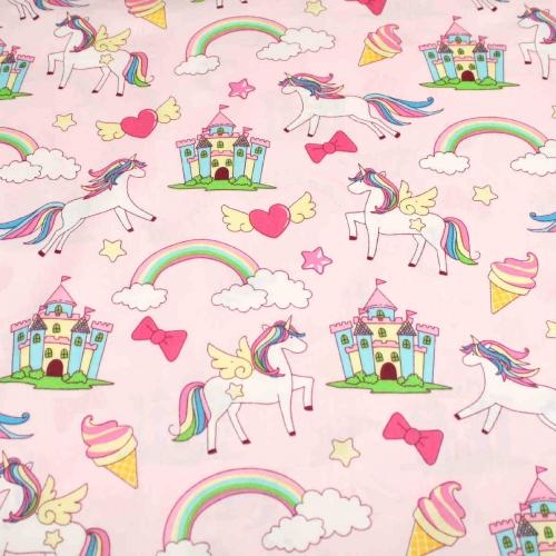 Fairy Unicorns Rainbows Top Quality Cotton Quilting Craft Fabric per meter