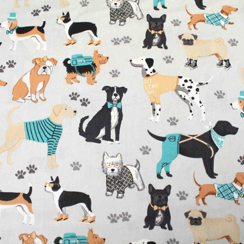 Small Dogs & Paw Prints Top Quality Cotton Quilting Craft Fabric per meter