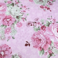 Pink Cabbage Roses Top Quality Cotton Quilting Craft Fabric per meter