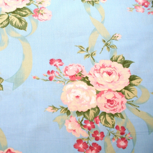 Cabbage Rose Ribbon Cotton Quilting Craft Fabric per meter
