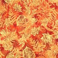 Henry Glass Autumn Orange Cotton Quilting Craft Fabric per FQ, half meter or meter