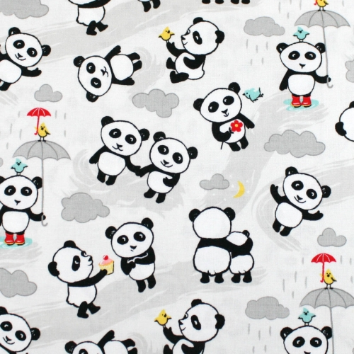 Riley Blake Panda Love Cotton Quilting Craft Fabric per FQ, half meter or meter