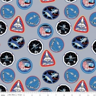 Riley Blake Designs NASA Mission Patches Premium Quality Quilting Craft Dress-making 100% Cotton Fabric per meter, 110cm width