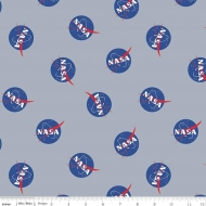 Riley Blake Designs NASA Out of This World Logos Premium Quality Quilting Craft Dress-making 100% Cotton Fabric per meter, 110cm width