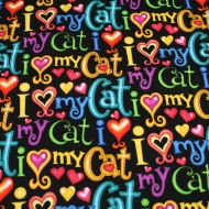 Love My Cat By Timeless Treasures 100% Cotton Craft Fabric by FQ 1/2m or meter