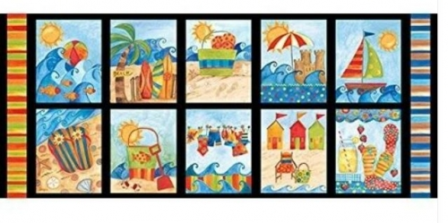 BlankQuilting~ Shore Thing Nautical Beach Blocks 100% Cotton Craft Quilting Panel Fabric