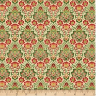 Wilmington~ Holiday Lane Damask Tan Fabric 100% Cotton Quilting Fabric