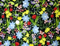 Penny Rose~ This & That Black Multi Color Floral 100 % Cotton Quilting Fabric