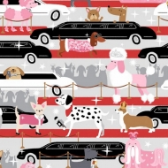 Studio E Fabrics Limo Pubs Papparazzi Pups Collection Cotton Fabric by FQ, half meter or meter