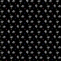 Henry Glass Paw Prints on Black Cotton Fabric by FQ, Half Meter or Meter