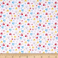 Daddy & Me Dog Paw Prints White by Henry Glass Cotton Quilting Fabric by FQ, Half Meter or Meter