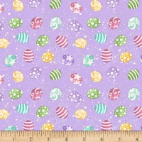Blank Quilting Hoppy Mini Tossed Easter Eggs Lilac 100% Cotton Quilting Fabric