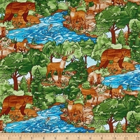 Studio E Fabrics Deer Bear Forest Creek Fish Mosaic Forest 100% Cotton Quilting Fabric