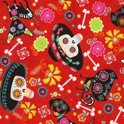 Timeless Treasures Day of the Dead Pets in Fire 100% Cotton Quilting Fabric
