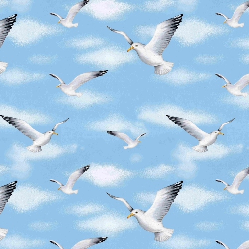 Blank Quilting Wade Sea Flying Seagulls Cotton Quilt Fabric 100% Cotton Quilting Fabric