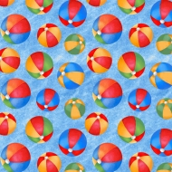 Blank Quilting Wade & Sea Beach Balls Blue Cotton Quilt Fabric 100% Cotton Quilting Fabric
