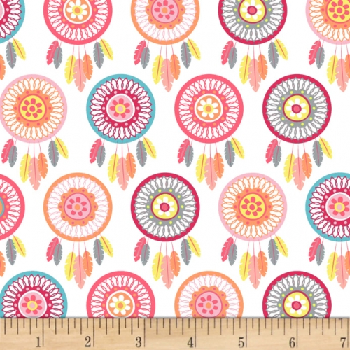 Studio E Boho Baby Dream Catchers White/Pink Cotton Quilt Fabric 100% Cotton Quilting Fabric