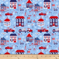 Studio E Patriotic Parade Town Parade Blue Cotton Quilt Fabric 100% Cotton Quilting Fabric
