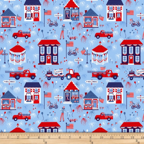 Studio E Patriotic Parade Town Parade Blue Cotton Quilt Fabric 100% Cotton Quilting Fabric