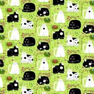 Henry Glass Day Dreamers Lemon Grass Cat Dreamers Cotton Quilt Fabric 100% Cotton Quilting Fabric