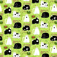 Henry Glass Day Dreamers Lemon Grass Cat Dreamers Cotton Quilt Fabric 100% Cotton Quilting Fabric