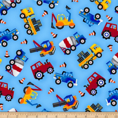 Henry Glass My Favourite Trucks Tossed Allover Trucks Blue Cotton Quilt Fabric 100% Cotton Quilting Fabric