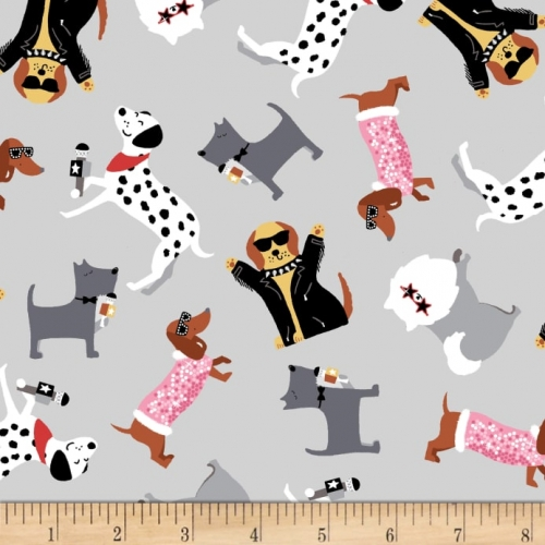 Studio E Fabrics Puparazzi Pups Tossed Dogs Gray Cotton Quilt Fabric 100% Cotton Quilting Fabric
